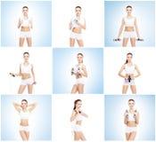 在白色背景隔绝的健康,运动和美丽的女孩 健身锻炼汇集的妇女 营养,饮食 免版税图库摄影