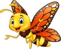 在白色背景隔绝的动画片愉快的蝴蝶 皇族释放例证