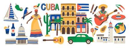 在白色背景隔绝的古巴属性的收藏-乐器,古巴兰姆酒,旗子,大厦,阔边帽 库存例证