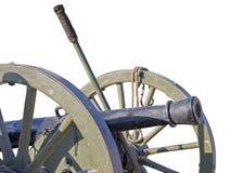 在白色背景隔绝的古老被转动的生铁大炮 库存照片