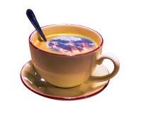 在白色背景隔绝的咖啡和多云天空风景盖帽的拼贴画图片 免版税图库摄影