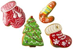 在白色背景隔绝的圣诞节姜饼 免版税库存图片
