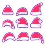 在白色背景隔绝的圣诞节帽子 免版税图库摄影