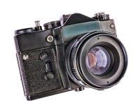 在白色背景隔绝的地道古色古香的照片照相机 软的HDR过滤器 图库摄影