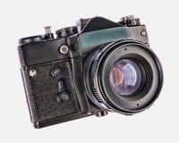 在白色背景隔绝的地道古色古香的照片照相机 软的HDR过滤器 免版税库存照片