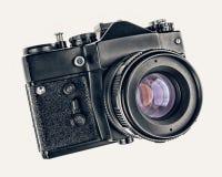 在白色背景隔绝的地道古色古香的照片照相机 软的HDR过滤器 库存照片