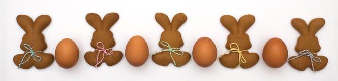 在白色背景隔绝的复活节曲奇饼 复活节烘烤 做姜饼复活节曲奇饼 2个所有时段小鸡概念复活节彩蛋开花草被绘的被安置的年轻人 免版税图库摄影