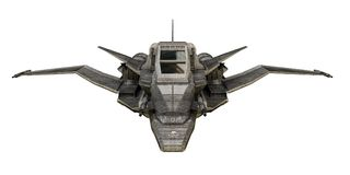 在白色背景隔绝的太空飞船战斗机 免版税图库摄影