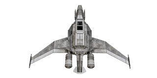在白色背景隔绝的太空飞船战斗机 免版税库存图片