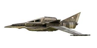 在白色背景隔绝的太空飞船战斗机 图库摄影