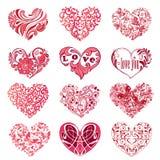 在白色背景隔绝的套桃红色装饰心脏 能 库存照片