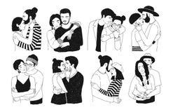 在白色背景隔绝的套浪漫夫妇 捆绑画象时髦人和女孩爱拥抱的 免版税库存照片