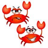 在白色背景隔绝的套滑稽的笑的红色螃蟹 传染媒介动画片特写镜头例证 向量例证