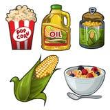 在白色背景隔绝的套玉米鲜美和有用的食物 传染媒介动画片特写镜头例证 皇族释放例证