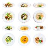 在白色背景隔绝的套食物各种各样的板材与 免版税库存照片