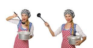 在白色背景隔绝的妇女厨师 免版税图库摄影