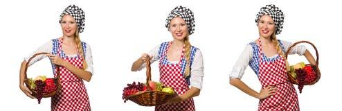 在白色背景隔绝的妇女厨师 库存图片