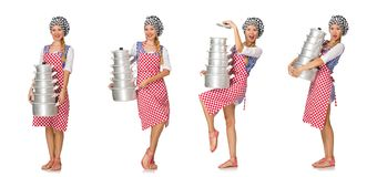 在白色背景隔绝的妇女厨师 免版税库存照片
