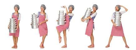 在白色背景隔绝的妇女厨师 免版税库存图片
