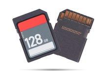 在白色背景隔绝的存储卡- 128十亿字节 免版税图库摄影