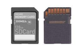 在白色背景隔绝的存储卡- 128十亿字节 免版税库存照片