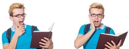 在白色背景隔绝的年轻学生 免版税库存图片
