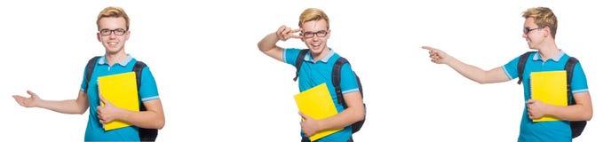 在白色背景隔绝的年轻学生 免版税库存照片