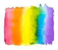 在白色背景隔绝的彩虹水彩,同性恋自豪日LGBT,反对同性恋歧视标志概念 库存例证