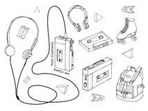 在白色背景隔绝的手拉的乱画套青少年的元素 减速火箭的音频球员,卡式磁带,耳机,溜冰鞋,后面 库存例证