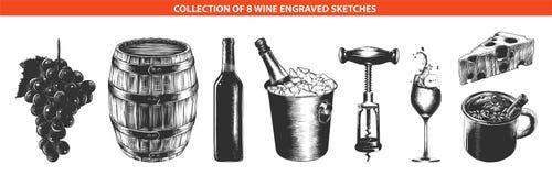 在白色背景隔绝的手拉的剪影单色 详细的葡萄酒木刻样式图画 图库摄影