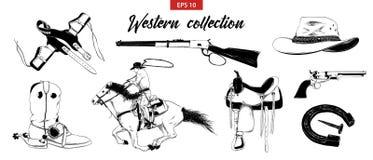 在白色背景隔绝的手拉的剪影套西部牛仔元素 详细的葡萄酒蚀刻图画 皇族释放例证