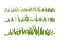 在白色背景隔绝的手拉的墨水草集合 水平的边界 向量例证