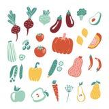 在白色背景隔绝的手拉的水果和蔬菜收藏 向量例证