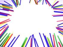 在白色背景隔绝的抽象五颜六色的棍子框架 库存图片