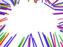 在白色背景隔绝的抽象五颜六色的棍子框架 免版税库存图片