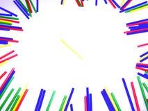 在白色背景隔绝的抽象五颜六色的棍子框架 库存照片