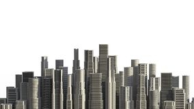 在白色背景隔绝的摩天大楼 3D说明 库存图片