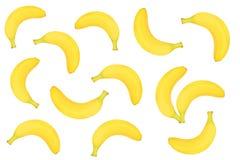 在白色背景隔绝的整个香蕉 顶视图 平的位置 无缝的模式 库存照片