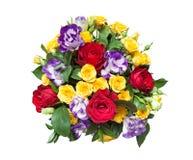 在白色背景隔绝的新鲜的多彩多姿的花花束  免版税库存照片