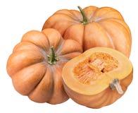 在白色背景隔绝的新鲜的橙色南瓜 免版税库存图片