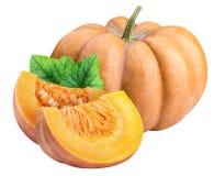 在白色背景隔绝的新鲜的橙色南瓜 免版税库存照片