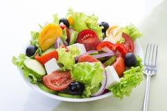 在白色背景隔绝的新鲜蔬菜沙拉 免版税库存图片