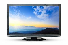 在白色背景隔绝的日出图象电视 使用C 库存照片