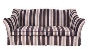在白色背景隔绝的有条纹的布料沙发 图库摄影