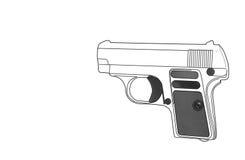 在白色背景隔绝的枪,概念 图库摄影