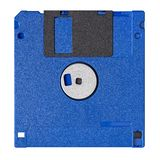 在白色背景隔绝的标准蓝色软盘 库存照片
