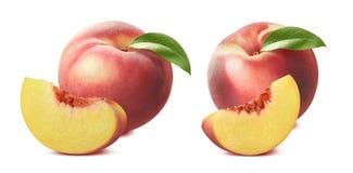 在白色背景隔绝的桃子和片断集合 库存照片