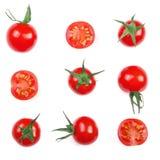在白色背景隔绝的樱桃小蕃茄 集合或汇集 顶视图 平的位置 库存照片