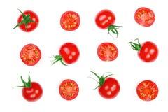 在白色背景隔绝的樱桃小蕃茄 集合或汇集 顶视图 平的位置 库存图片
