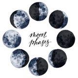 在白色背景隔绝的水彩各种各样的月亮阶段 印刷品的,卡片手拉的现代空间设计 免版税库存图片